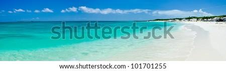 The white beach of La Perla Blanca, Cuba. - stock photo