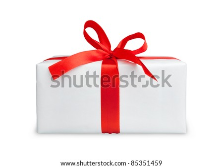 the white box with a red ribbon and bow - stock photo