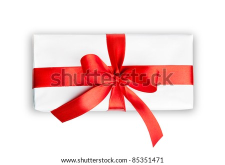 the white box with a red ribbon and bow isolated - stock photo
