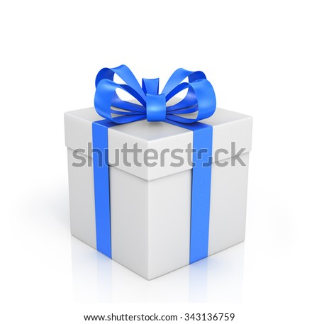 The white box wrapped with blue ribbon with a bow on a white background.
