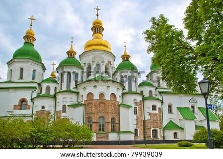 The White Cathedral in Kiev Pechersk Lavra, Ukraine - stock photo