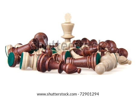 The white Chess king is the winner of the chess battle - stock photo