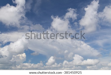 The white clouds and blue sky on sunshine day.