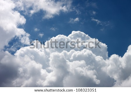 the white clouds in the blue sky - stock photo