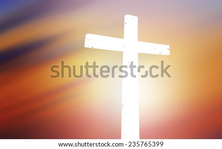 The white cross over blurred sunset background. Merry Christmas Card, Thankful, Repentance, Adoration, Glorify, Peace, Evangelical, Hallelujah, Good Friday, God Orthodox concept - stock photo