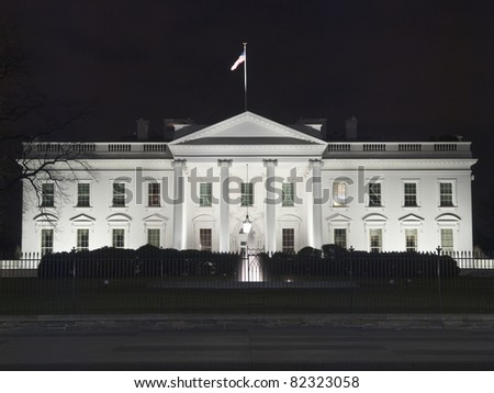 The White House at night in Washington DC. - stock photo