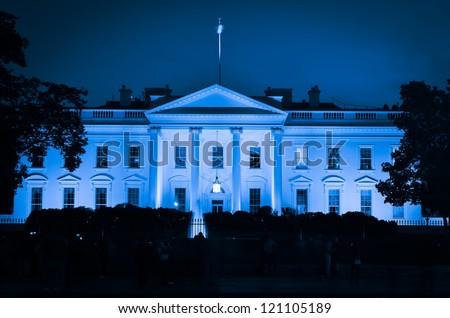 The White House at night - Washington DC, United States - stock photo
