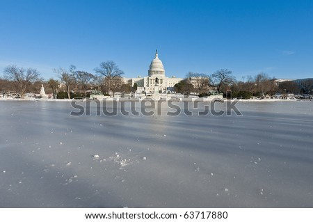 The White House building after a snow blizzard at the Mall in DC, USA