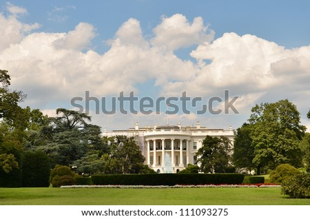The White House in a cloudy summer day - Washington DC United States - stock photo