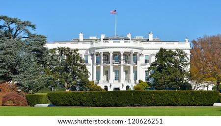 The White House in Autumn - Washington DC, United States - stock photo