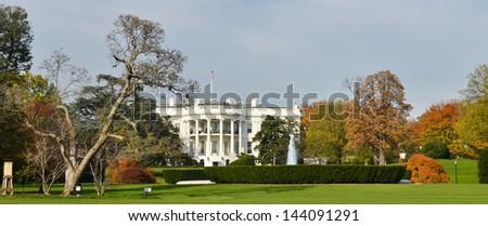 The White House in autumn, Washington DC United States  - stock photo