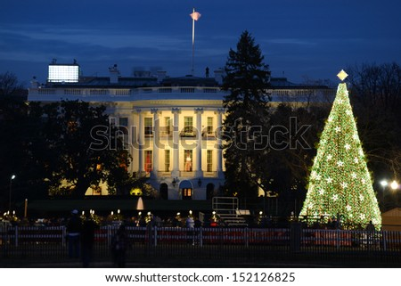 The White House in Christmas - Washington DC, United States  - stock photo