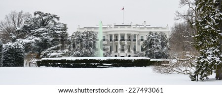 The White House in snow - Washington DC, United States  - stock photo