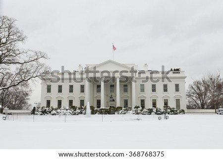 The White House in snow - Washington DC, USA - stock photo