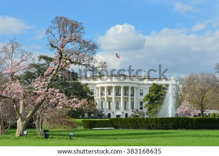 The White House in Spring - Washington DC USA  - stock photo