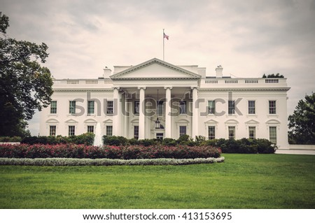 The White House in Washington D.C. at a cloudy day, Executive Office of the President of the United States, Vintage filtered style