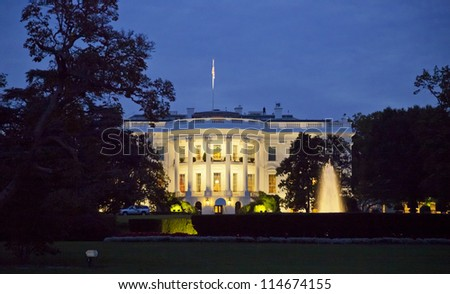 The White House in Washington D.C. at the night - stock photo