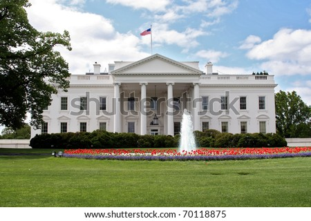 The White House in Washington DC in spring with fountain and red tulips. - stock photo