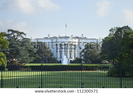 The White House in Washington DC viewed from the south - stock photo