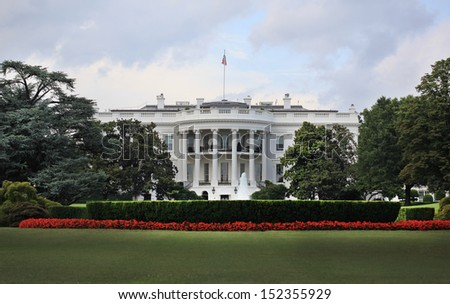 The White House in Washington DC with beautiful blue sky - stock photo