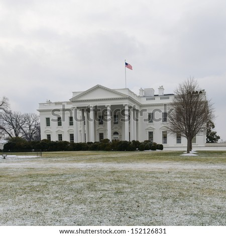 The White House in winter - Washington DC, United States - stock photo