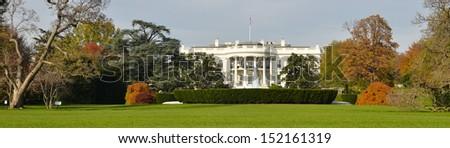 The White House panorama in Autumn - Washington DC, United States - stock photo