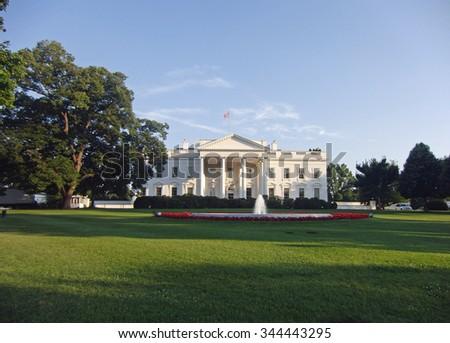The White House - Washington DC. The White House view from Pennsylvania Avenue. - stock photo