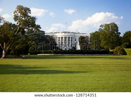 The White House with blue sky on a summer day