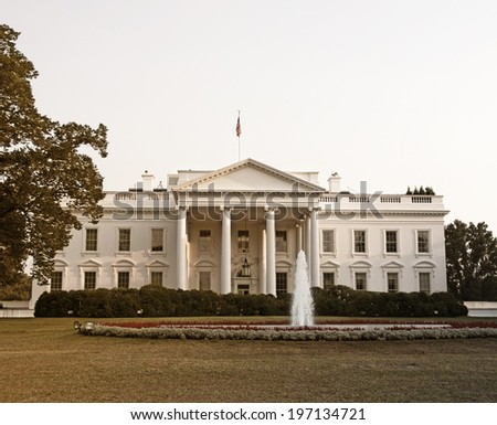 The White House with its fountain and gardens.
