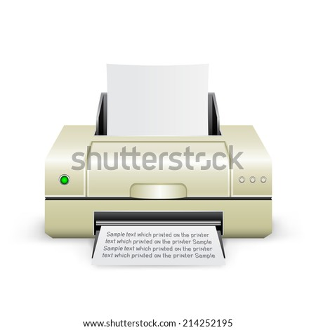 The white inkjet printer on the white background - stock photo