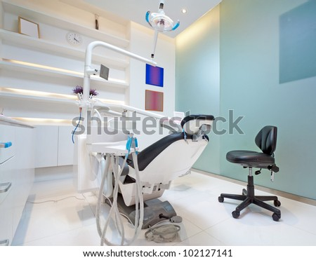 The white interior of a dentist office. Dentist office