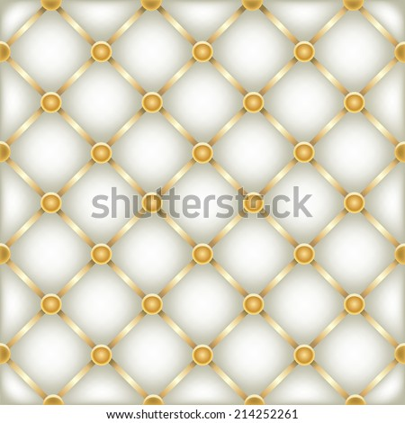 The white leather furniture dark mesh texture with golden ribbons - stock photo