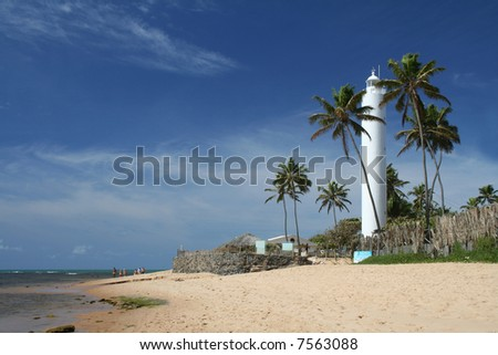 The white lighthouse at Praia do Forte, Bahia, Brazil - stock photo