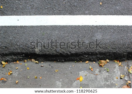 The white line paint on road - stock photo