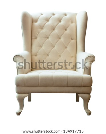The white luxury armchair isolated on white background - stock photo