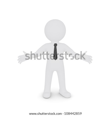 The white man spread his hands apart. Isolated on white background - stock photo