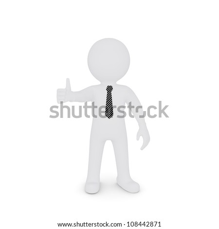 The white man stretched out his hand and raised his thumb. Isolated on white background