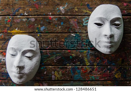 The white masks with color