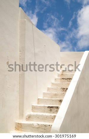 The white old staircase on Mykonos island, Greece - stock photo