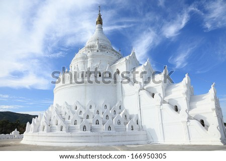 The white pagoda of Hsinbyume (Mya Thein Dan pagoda ) paya temple, Mingun, Mandalay - Myanmar - stock photo