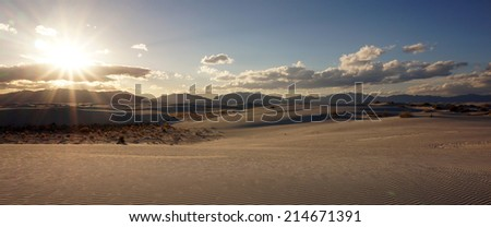 The White Sands desert is located in Tularosa Basin New Mexico. - stock photo