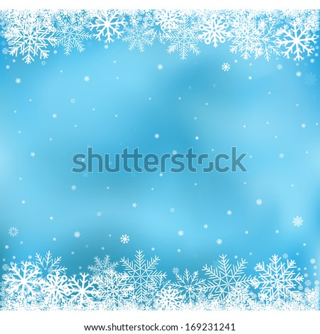 The white snow on the blue mesh background, winter and Cristmas theme - stock photo