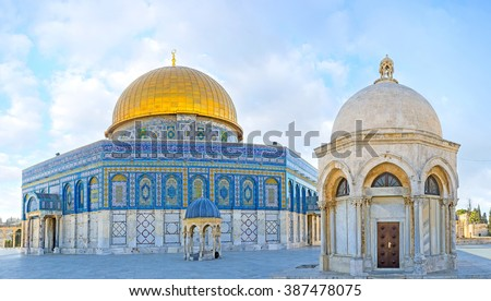 The white stone Hebron Dome, with the small Dome of the Prophet and the Dome of the Rock on the background, Jerusalem, Israel. - stock photo