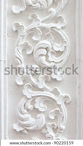 The White stucco , thai style on the Wall - stock photo