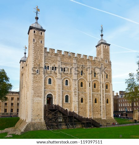The White Tower at the Tower of London in England - stock photo