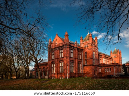 The Whitworth Art Gallery is an art gallery in Manchester, England, containing about 55,000 items in its collection. - stock photo