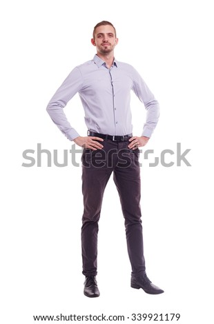 The whole figure of a man in a shirt on white background - stock photo