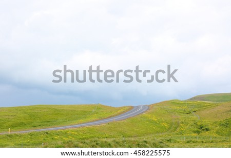 The Wide view of Route 1 in Iceland. Route 1 or the Ring Road is a national road in Iceland that runs around the island and connects most of the inhabited parts of the country.