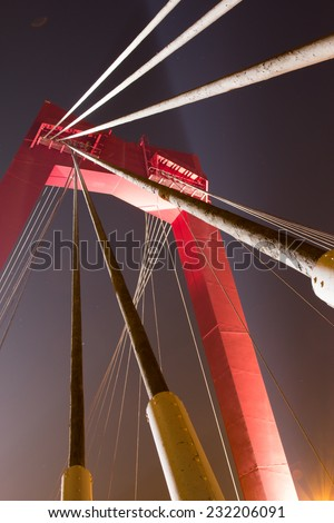 The Willemsbridge, A famous bridge in Holland, spanning the 'Nieuwe Maas' in Rotterdam, Holland - stock photo