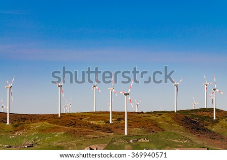 the wind farm in the high mountains
